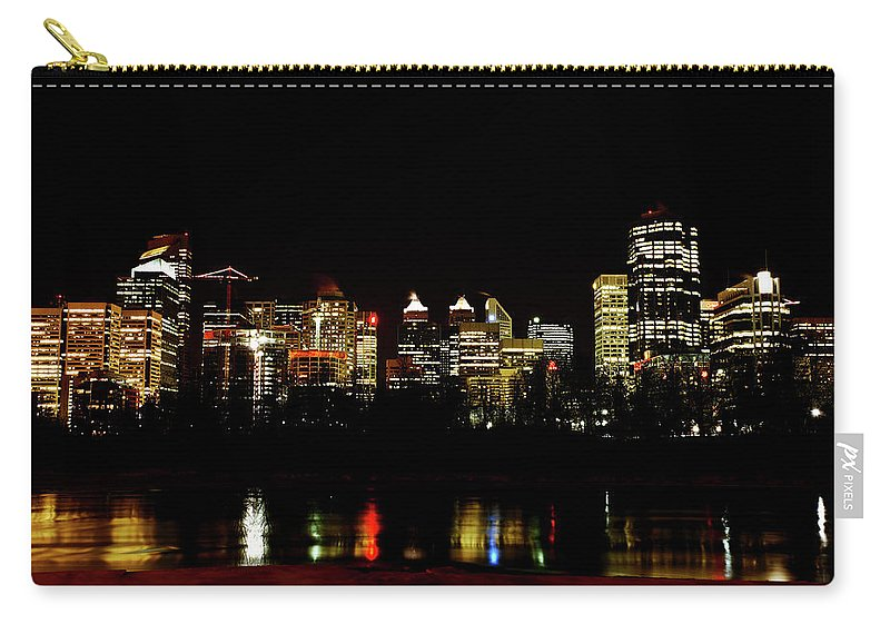 Downtown Calgary Night Lights Reflection Off Bow River Rural Alb Carry-all Pouch featuring the digital art Downtown Calgary At Night by Mark Duffy