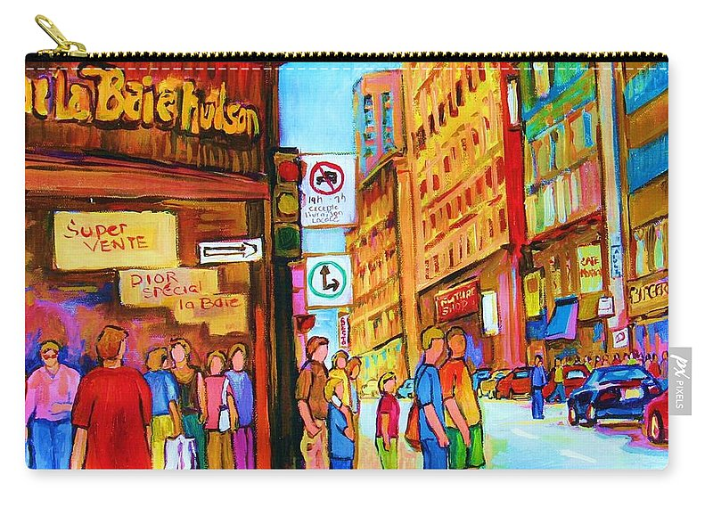 Cityscape Carry-all Pouch featuring the painting Downtown by Carole Spandau