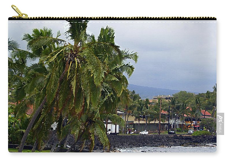Landscape Carry-all Pouch featuring the painting Downtown Kona by Athala Carole Bruckner