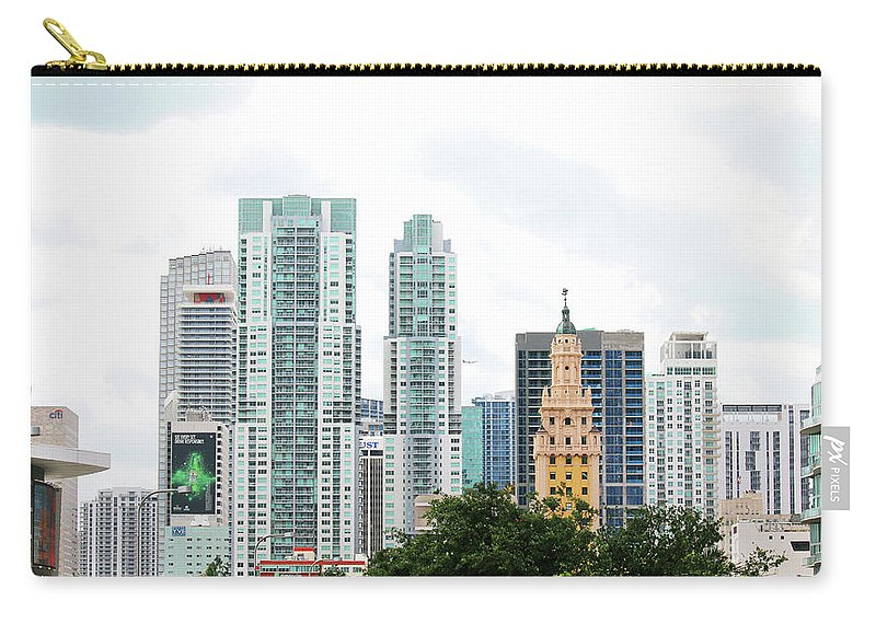 Miami Carry-all Pouch featuring the photograph Downtown Miami by Art Block Collections