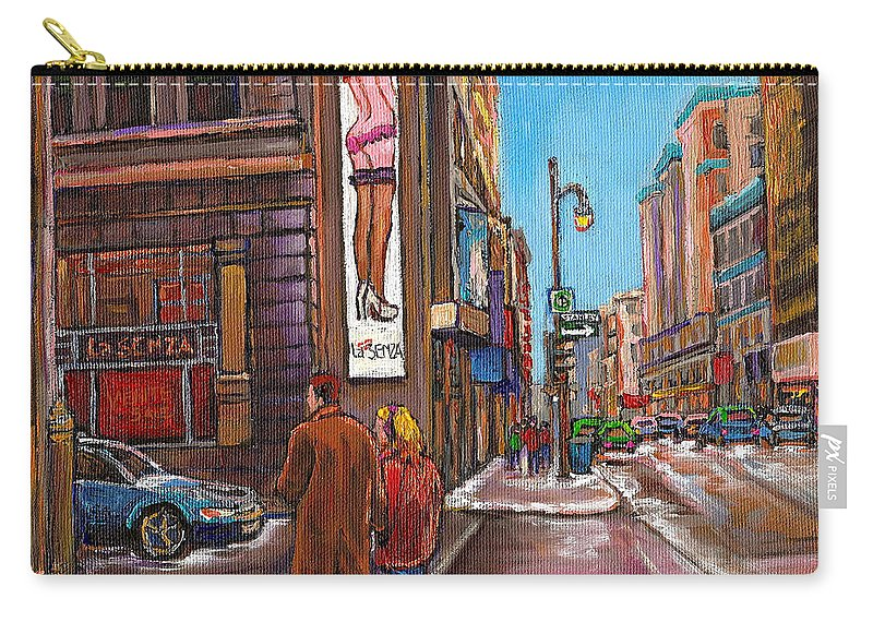 Montreal Carry-all Pouch featuring the painting Downtown Montreal Streetscene At La Senza by Carole Spandau