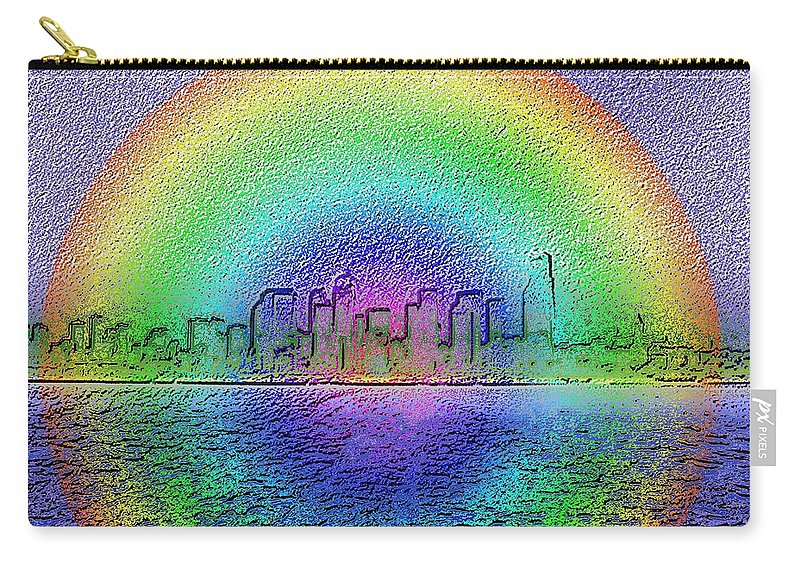 Seattle Carry-all Pouch featuring the photograph Downtown Rainbow In The Wake by Tim Allen