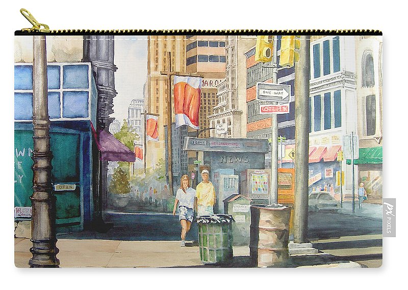 City Carry-all Pouch featuring the painting Downtown by Sam Sidders