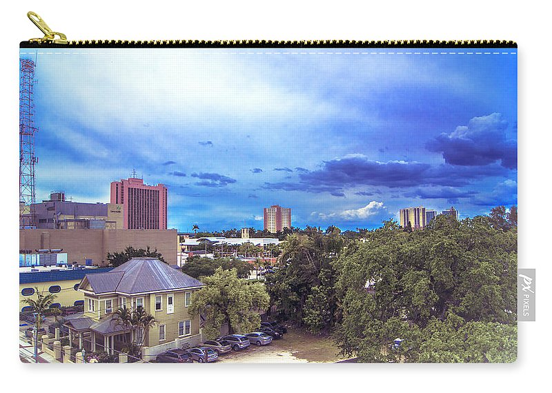 Downtown Skies Carry-all Pouch featuring the photograph Downtown Skies by Michael Frizzell