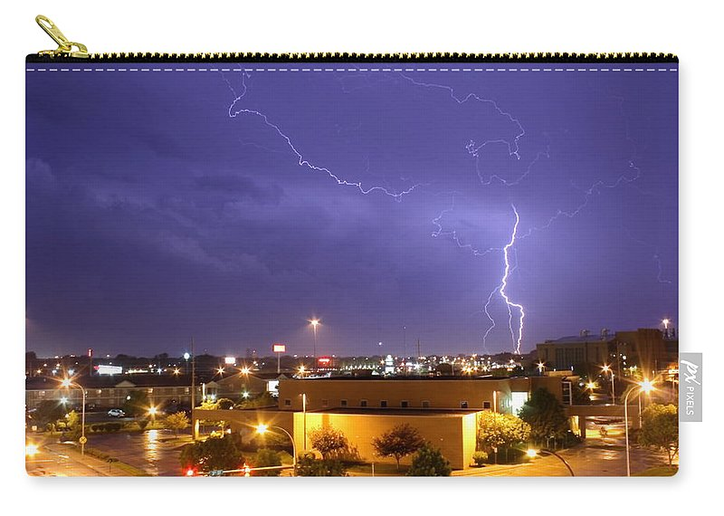 Weather Carry-all Pouch featuring the photograph Downtown Storm by Bryan Noll