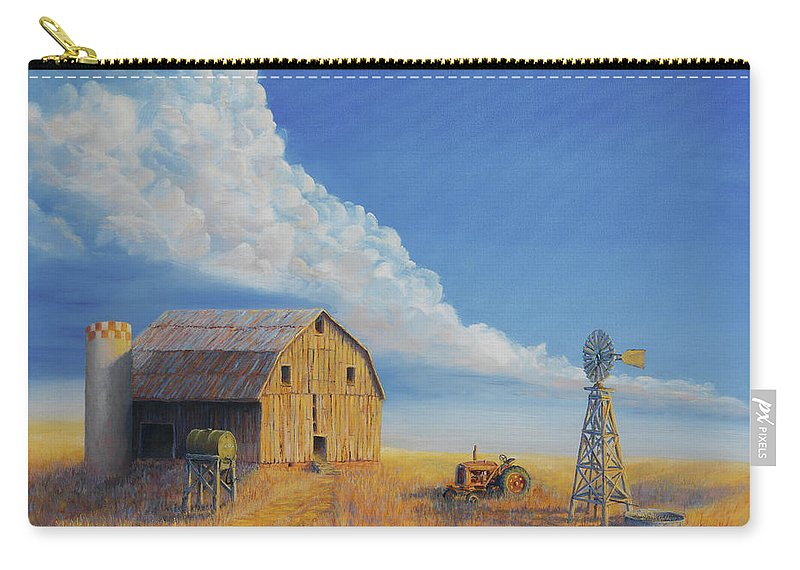 Barn Carry-all Pouch featuring the painting Downtown Wyoming by Jerry McElroy