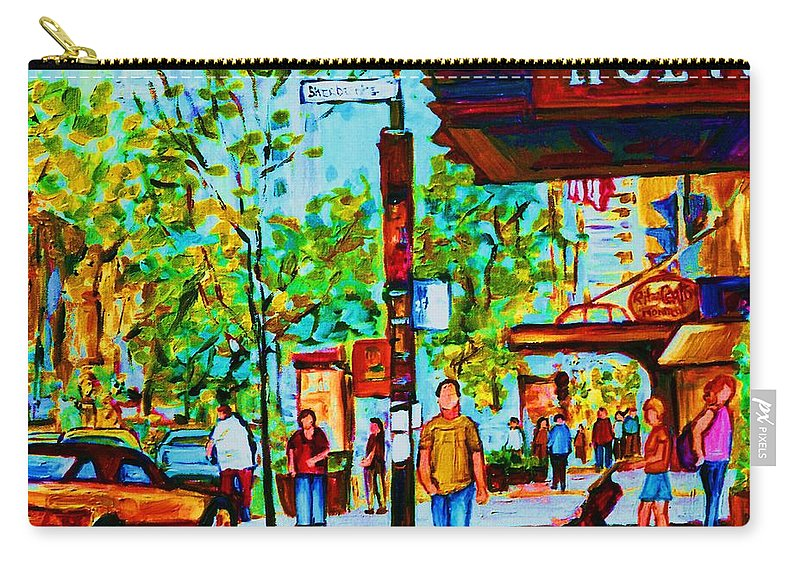 Montreal Streetscene Carry-all Pouch featuring the painting Downtowns Popping by Carole Spandau