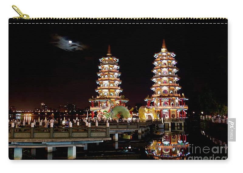 Tiger Carry-all Pouch featuring the photograph Dragon And Tiger Pagodas by Danny Aab