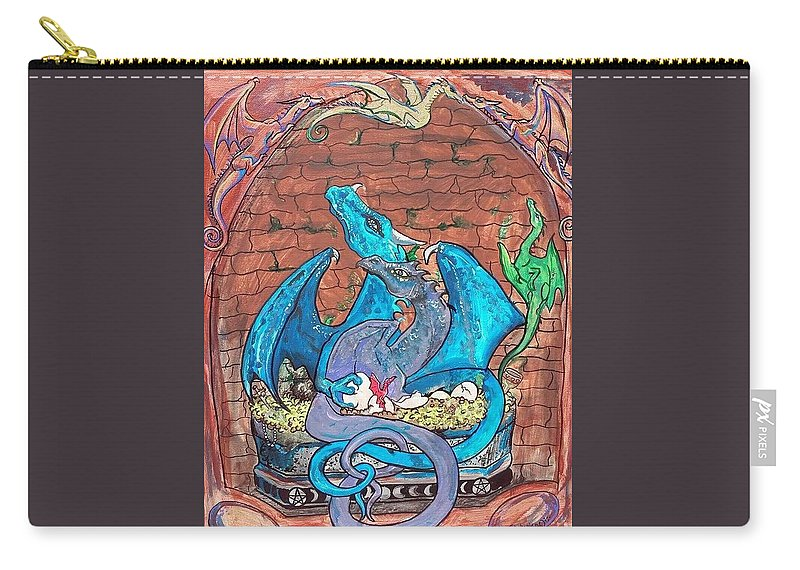 Dragon Carry-all Pouch featuring the painting Dragon Family by Stephanie Small