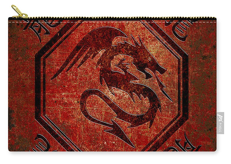 Chinese Carry-all Pouch featuring the digital art Dragon In An Octagon Frame With Chinese Dragon Characters Red Tint by Fred Bertheas