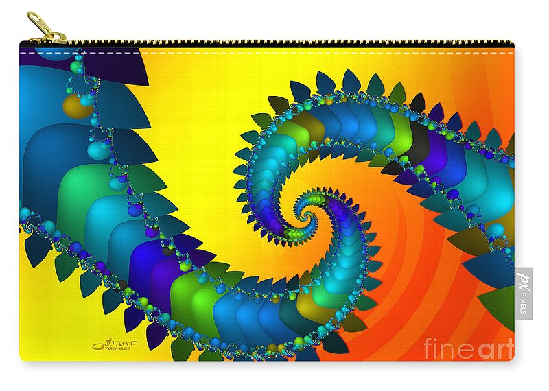 Fractal Carry-all Pouch featuring the digital art Dragon Tail Meeting by Jutta Maria Pusl
