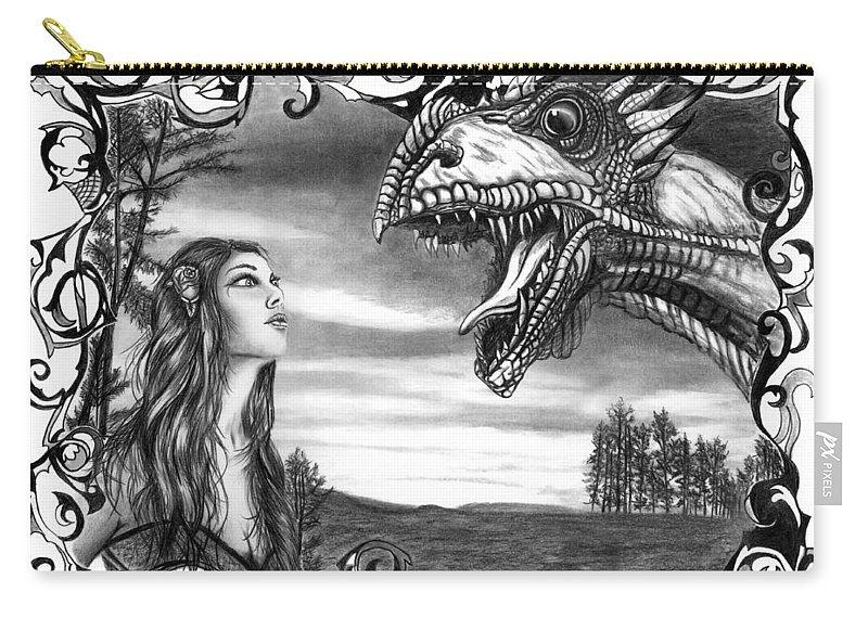Dragon Whisperer Carry-all Pouch featuring the drawing Dragon Whisperer by Peter Piatt