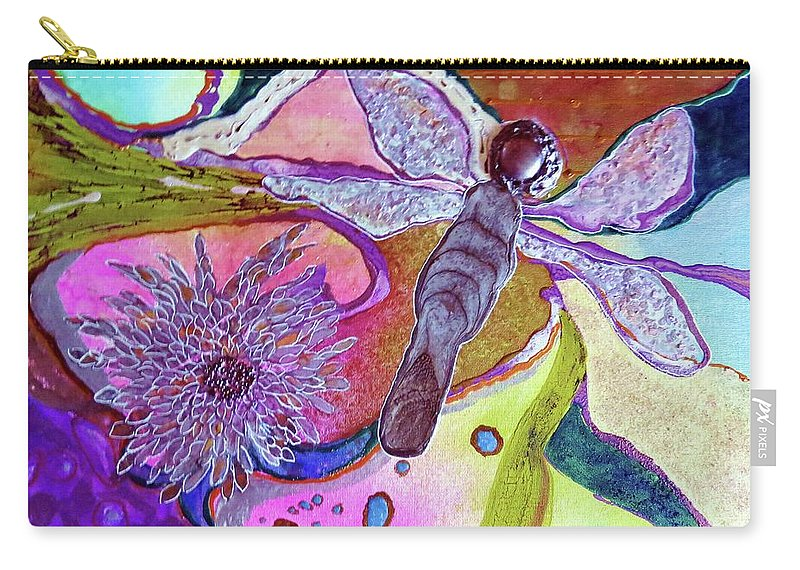 Mixed Media Carry-all Pouch featuring the painting Dragonfly And Mum by Desiree Paquette