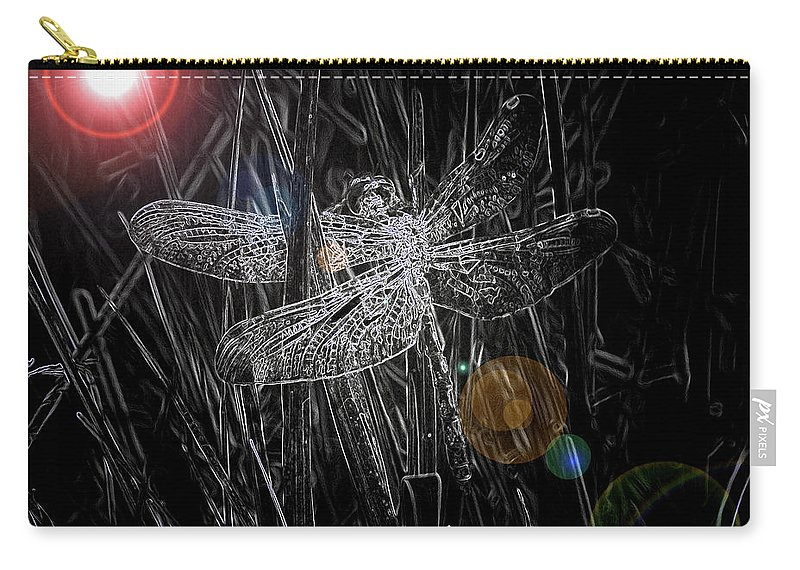 Dragonfly Art Carry-all Pouch featuring the digital art Dragonfly by Bob Kemp