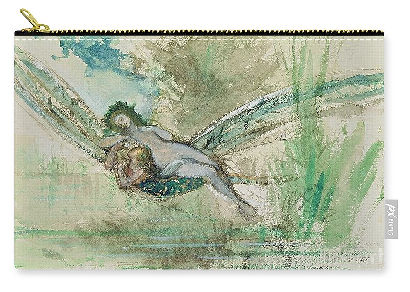 Dragonfly Carry-all Pouch featuring the painting Dragonfly by Gustave Moreau