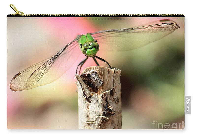 Dragonfly Carry-all Pouch featuring the photograph Dragonfly In The Petunias by Carol Groenen