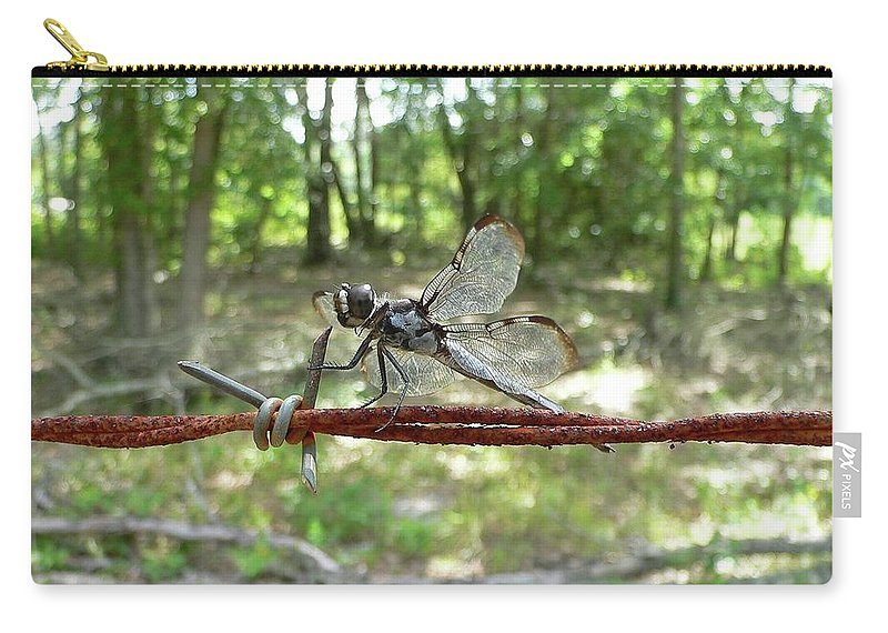 Dragonfly Carry-all Pouch featuring the photograph Dragonfly On Barbed Wire by Al Powell Photography USA