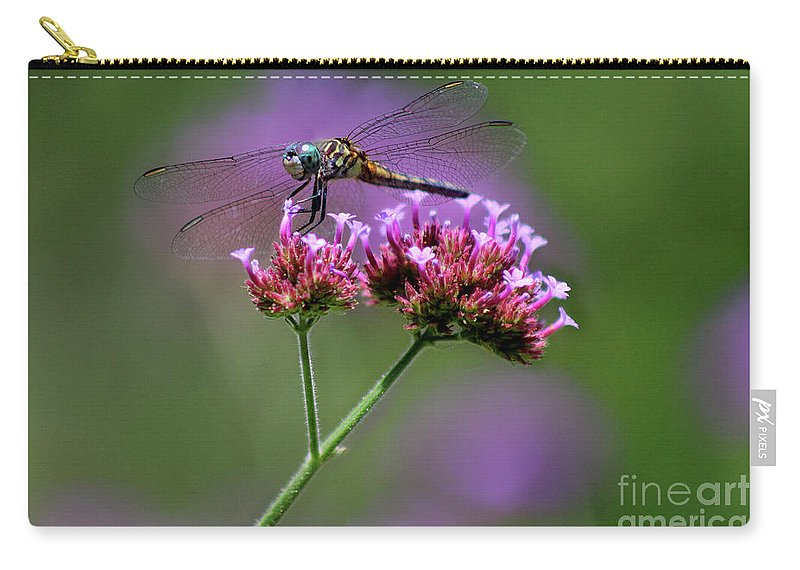 Dragonfly Carry-all Pouch featuring the photograph Dragonfly On Purple Verbena by Karen Adams