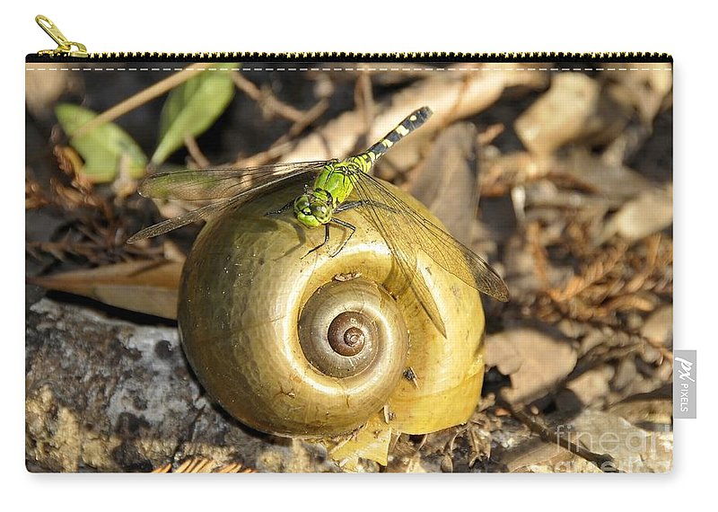 Dragonfly Carry-all Pouch featuring the photograph Dragonfly On Snail by David Lee Thompson