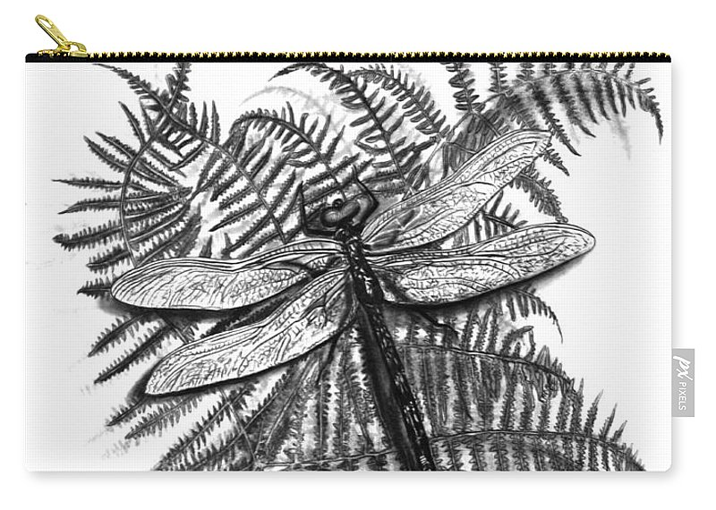 Dragonfly Carry-all Pouch featuring the drawing Dragonfly by Peter Piatt