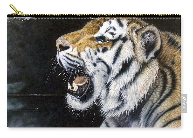 Tiger Carry-all Pouch featuring the painting Dragonfly by Sandi Baker