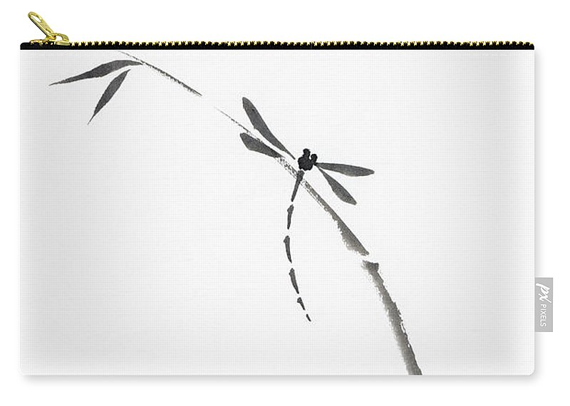 Dragonfly Carry All Pouch Featuring The Photograph Sitting On Bamboo Stalk Japanese Zen Sumi