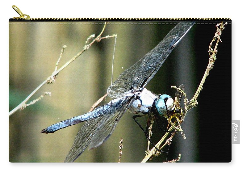 Dragonfly Carry-all Pouch featuring the photograph Dragonfly With Yellowjacket 1 by J M Farris Photography