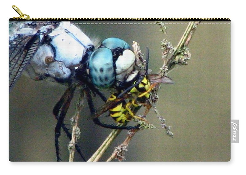 Dragonfly Carry-all Pouch featuring the photograph Dragonfly With Yellowjacket 4 by J M Farris Photography