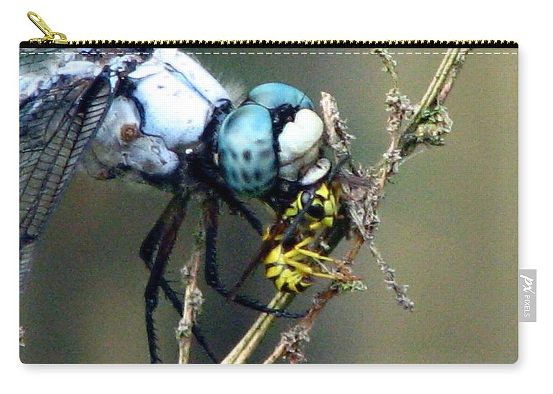 Dragonfly Carry-all Pouch featuring the photograph Dragonfly With Yellowjacket 5 by J M Farris Photography