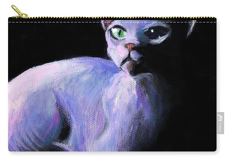Sphynx Cat Carry-all Pouch featuring the painting Dramatic Sphynx Cat Print Painting by Svetlana Novikova
