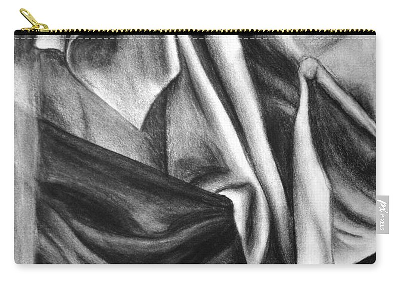 Charcoal Carry-all Pouch featuring the drawing Drapery Still Life by Nancy Mueller
