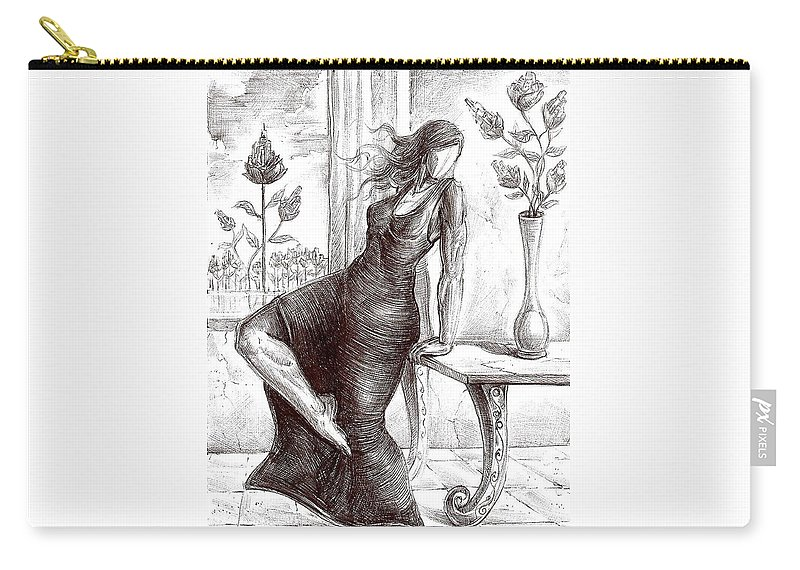 Surrealism Carry-all Pouch featuring the drawing Drawing 12 by Darwin Leon