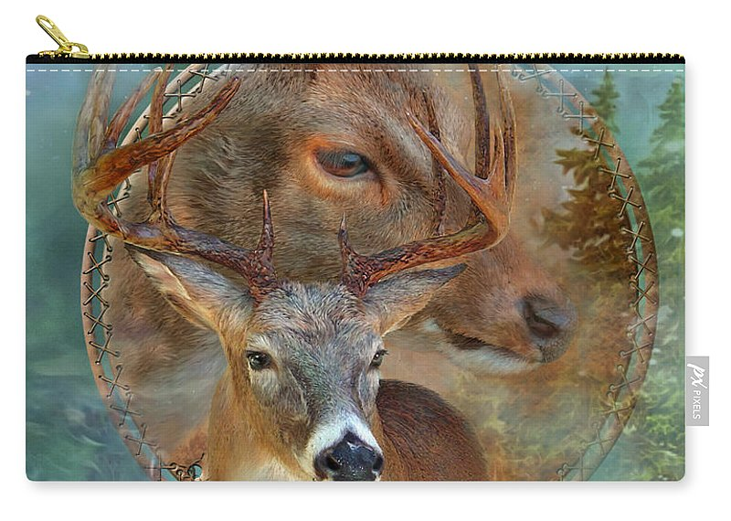 Carol Cavalaris Carry-all Pouch featuring the mixed media Dream Catcher - Spirit Of The Deer by Carol Cavalaris