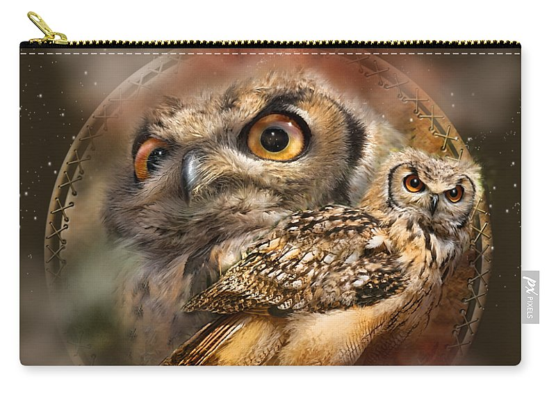 Carol Cavalaris Carry-all Pouch featuring the mixed media Dream Catcher - Spirit Of The Owl by Carol Cavalaris