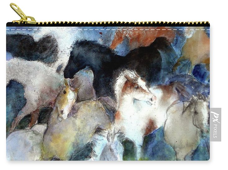 Horses Carry-all Pouch featuring the painting Dream Of Wild Horses by Christie Michelsen