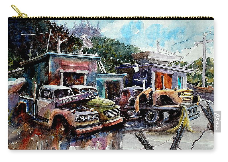 Trucks Buildings Boats Carry-all Pouch featuring the painting Dreamboat Woodworks by Ron Morrison