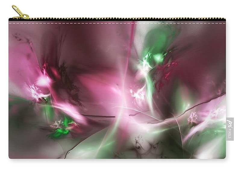 Fractal Carry-all Pouch featuring the digital art Dreaming in Red and Green by David Lane