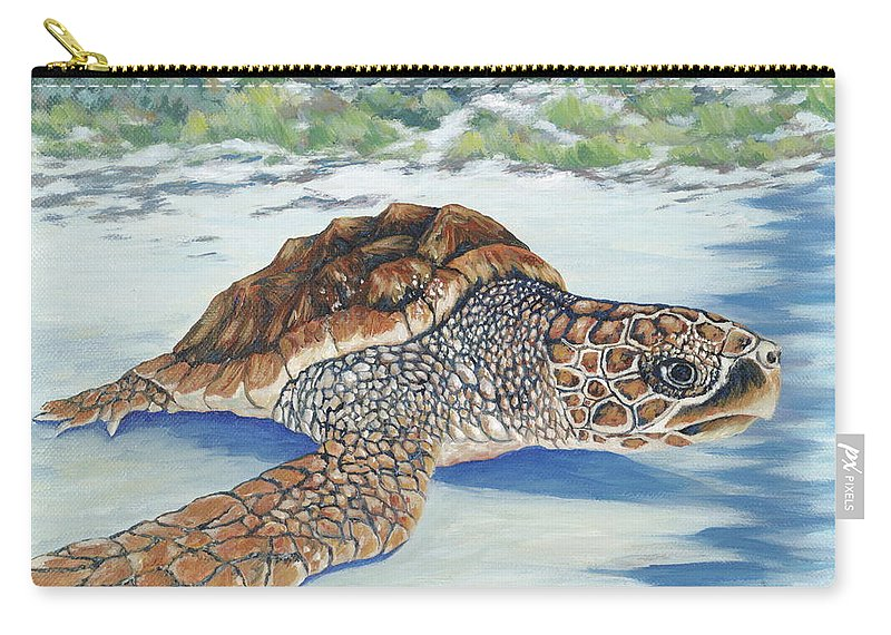 Sea Turtle Carry-all Pouch featuring the painting Dreaming Of Islands by Danielle Perry