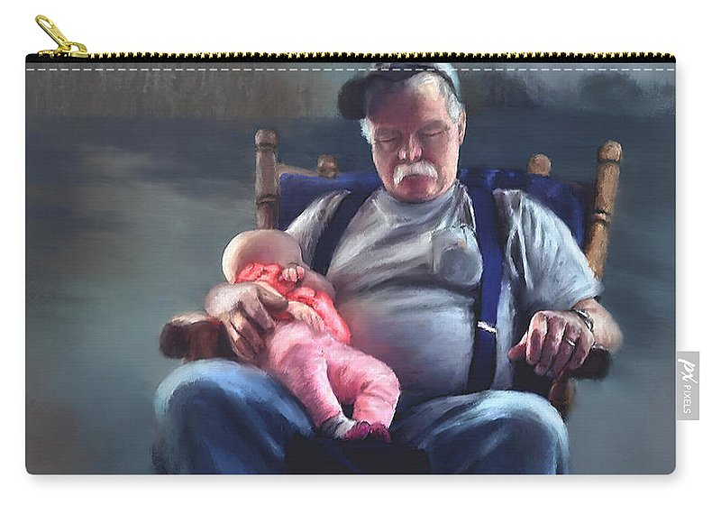 Dreams Carry-all Pouch featuring the painting Dreaming With Grandpa by Susan Kinney