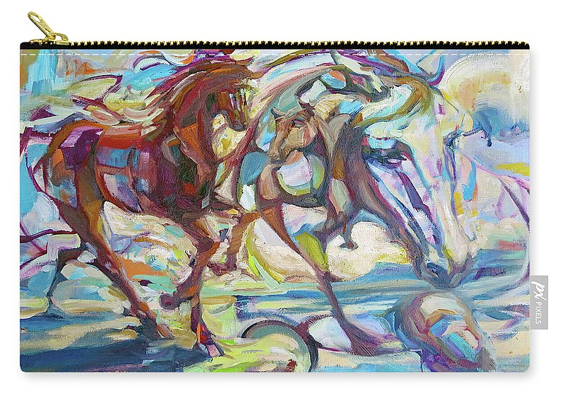 Horse Carry-all Pouch featuring the painting Dreamponies by Lara Teresa