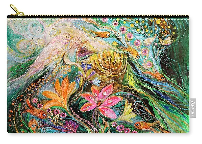 Modern Jewish Art Carry-all Pouch featuring the painting Dreams About Chagall. The Sky Violin by Elena Kotliarker