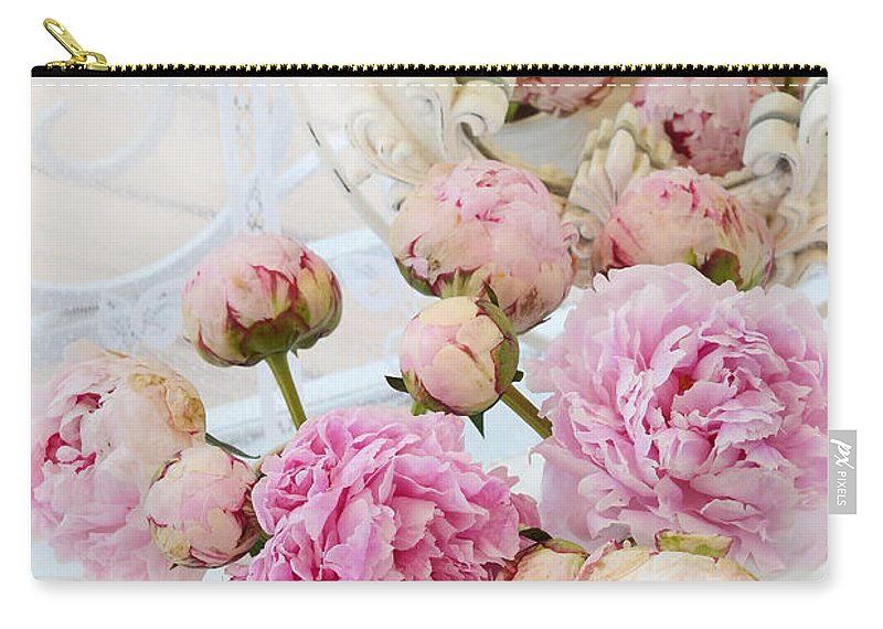 Pink White Peonies Carry-all Pouch featuring the photograph Dreamy Shabby Chic Romantic Peonies - Garden Peonies White Mason Jars by Kathy Fornal
