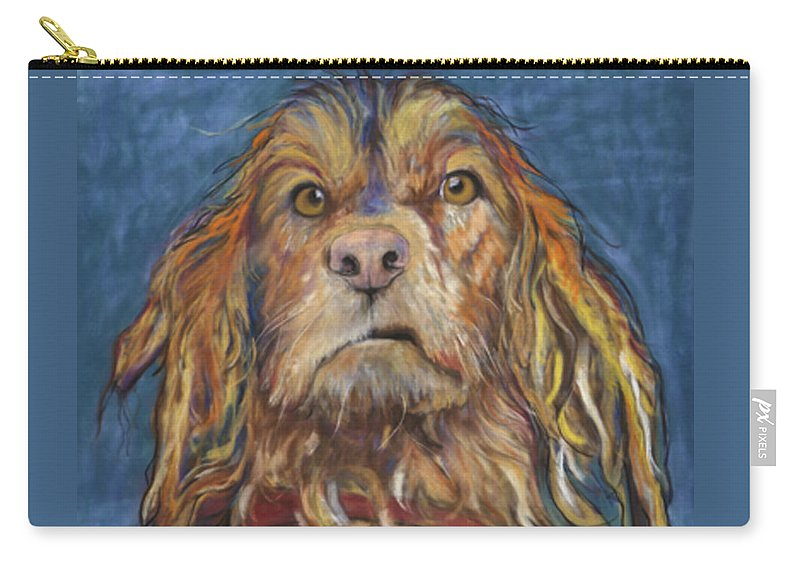 Golden Retriever Painting Carry-all Pouch featuring the pastel Drenched by Pat Saunders-White