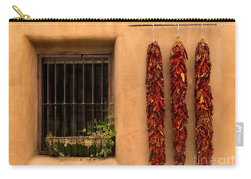 New Mexico Carry-all Pouch featuring the photograph Dried Chilis And Window by Jerry Fornarotto