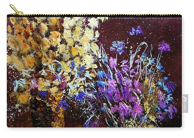 Flowers Carry-all Pouch featuring the painting Dried Flowers by Pol Ledent