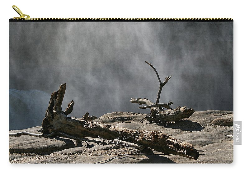 Wood Drift Driftwood Rock Mist Waterfall Nature Sun Sunny Waterful Glow Rock Old Aged Carry-all Pouch featuring the photograph Driftwood by Andrei Shliakhau