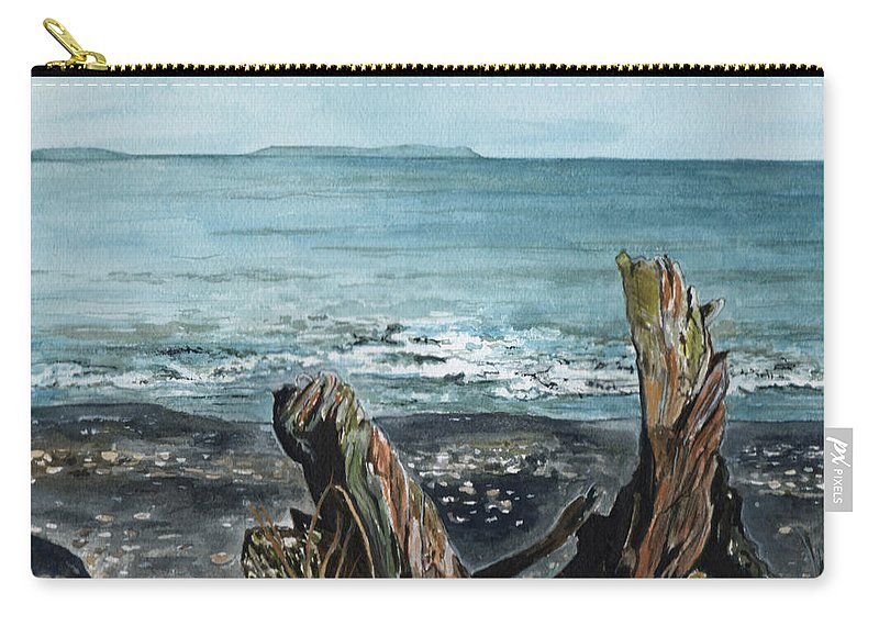 Watercolor Carry-all Pouch featuring the painting Driftwood by Brenda Owen