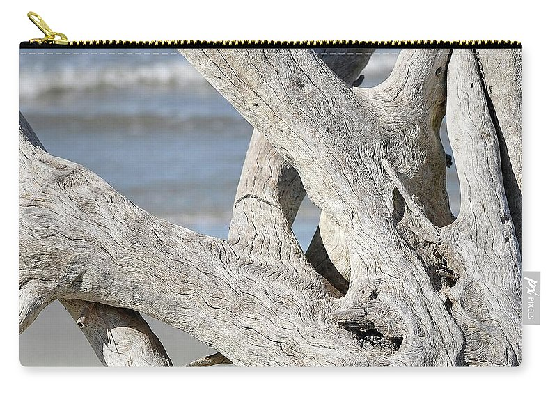 Driftwood Carry-all Pouch featuring the photograph Driftwood Detail by Al Powell Photography USA