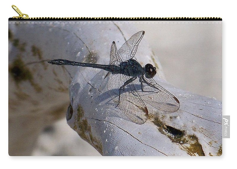 Driftwood Carry-all Pouch featuring the photograph Driftwood Dragofly by Kathy Shoemaker