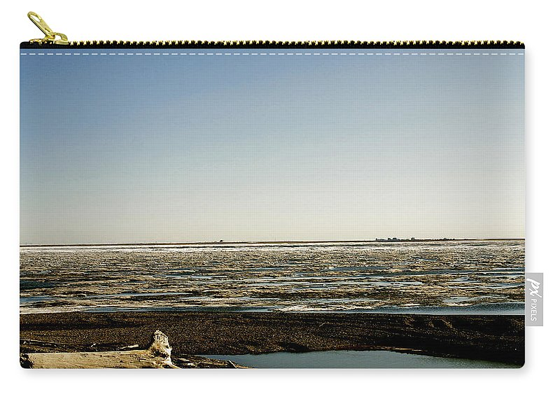 Driftwood Carry-all Pouch featuring the photograph Driftwood On Arctic Beach by Anthony Jones